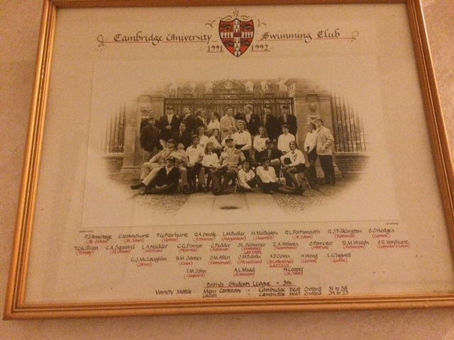 The Cambridge University Swim Team of 1991-1992