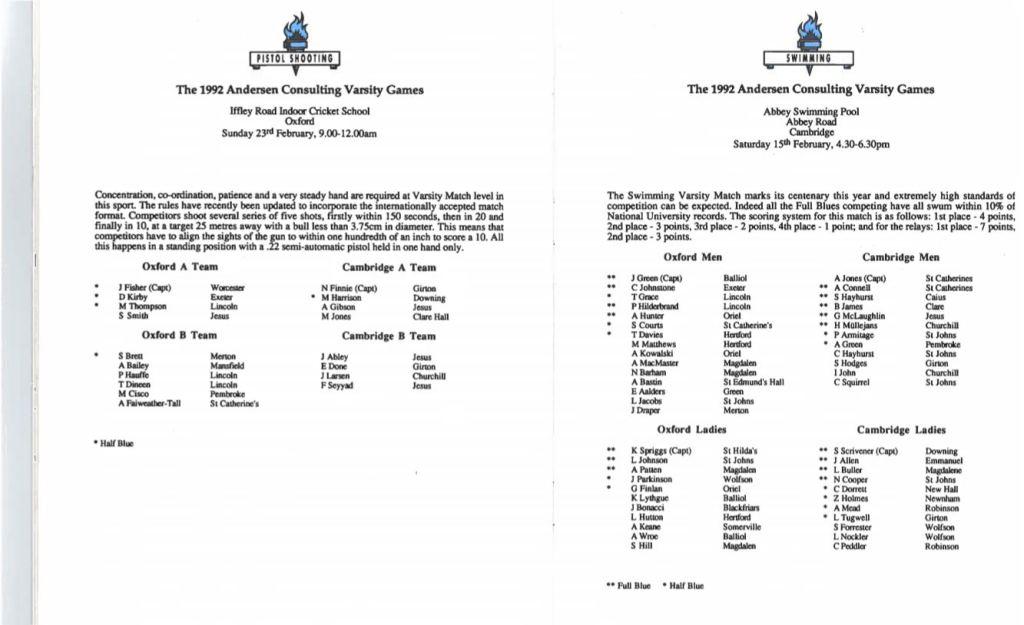 Swimming Programme 1992