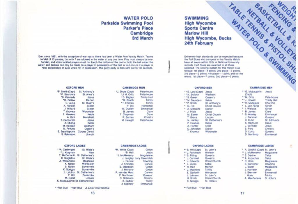 Varsity programme 1990