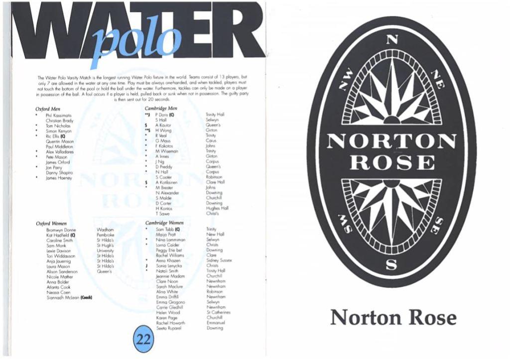 Water Polo Programme 1995