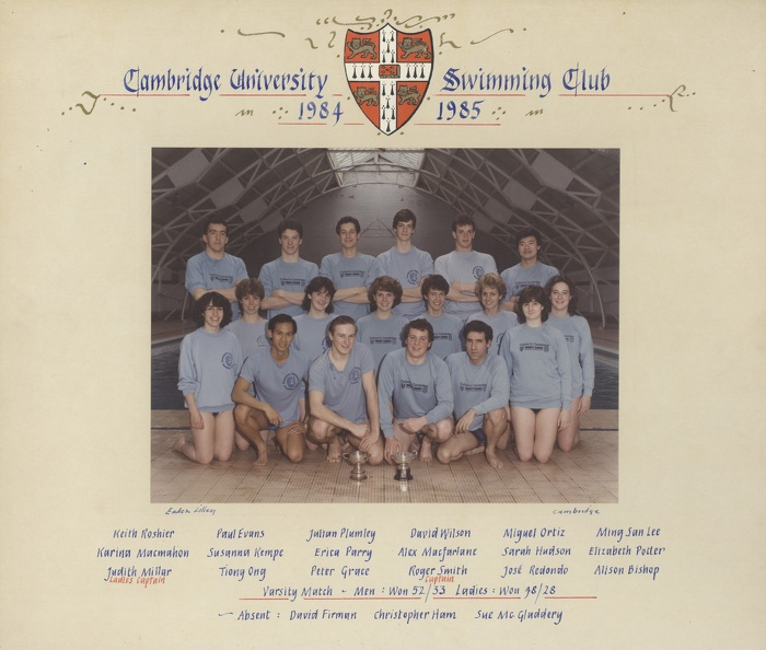 Swimming Club 1984-85