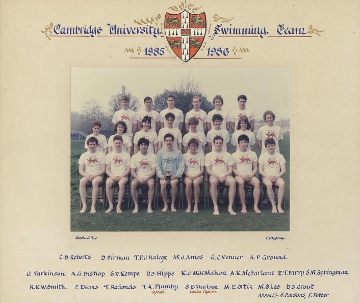 Swimming Club 1985-86