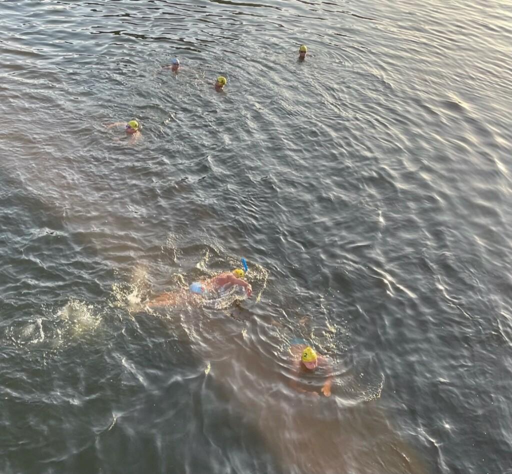 David Skidmore at his Thames half mile swim.